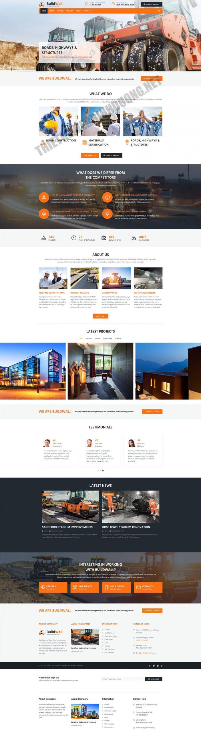 Mẫu web giới thiệu công ty xây dựng PNXD2 5