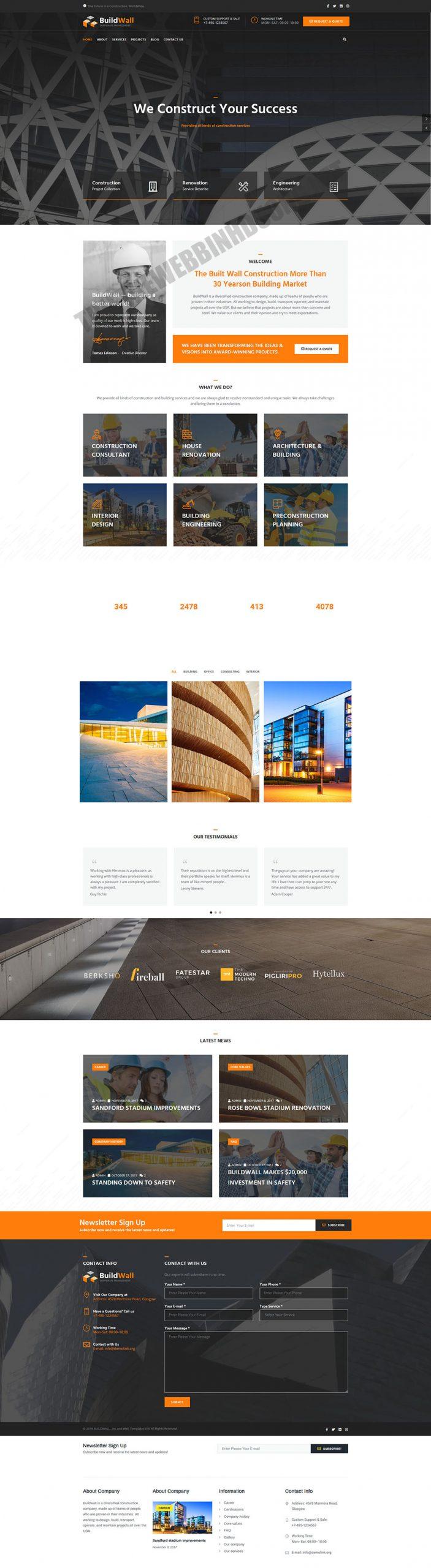 Mẫu web giới thiệu công ty xây dựng PNXD3 4